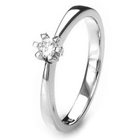 Solitaire-ring i hvidguld 0.15 ct